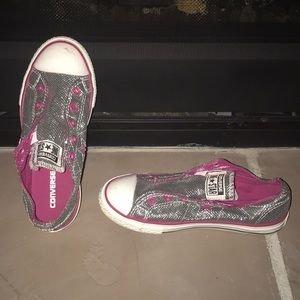 Converse one-star pink and silver glitter no laces
